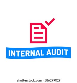 Internal audit. Badge with document icon. Flat vector illustration on white background.
