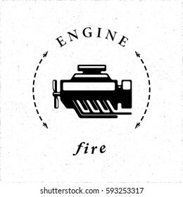Internal Combustion Engine or Car Motor Logo Style Icon in Connection with Fire as One of Main Elements - Black Elements on White Grunge Background - Vector Contrast Graphic Style