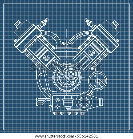Internal Combustion Engine Isolated Section Black Stock Vector ...