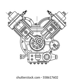 An internal combustion motor. The drawing engine of the machine in section, illustrating the inner structure - the cylinders, pistons, the spark plug. Isolated on white background.