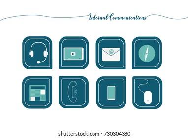 Internal communication icon set and line illustration