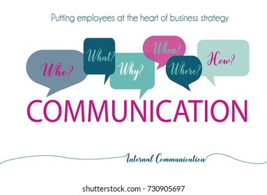 Internal communications questions to engage the audience creative vector illustration on a white background