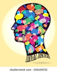 Internal discourse. Profile of a man with many colorful thought bubbles