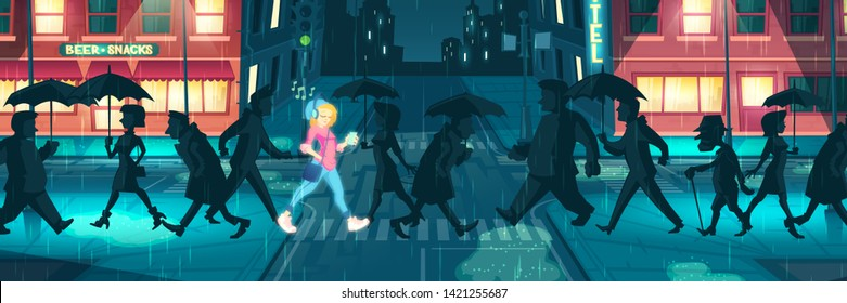 Internal energy, positive mood, bright individuality cartoon vector. Shining with happiness girl listening music, going with smile among depressed, tired people in evening rainy city illustration