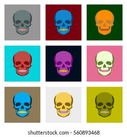 Internal human organs icons set in flat style skull