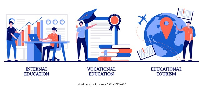 Internal and vocational education, educational tourism concept with tiny people. Professional learning abstract vector illustration set. Business coach, student group, education abroad metaphor.