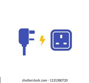 International AC power plug and socket, vector