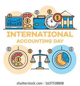 International accounting day banner. Outline illustration of international accounting day vector banner for web design