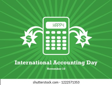 International Accounting Day vector. Calculator on a green background. Simple calculator icon. Important day