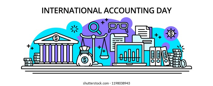 International accounting happy day banner. Outline illustration of international accounting happy day vector banner for web design