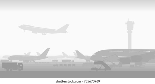 international airport with big passenger planes in early morning fog