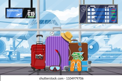 International airport concept. Travel suitcase. Plane before takeoff. Airport control tower, terminal building and parking area. Cityscape. Sky with clouds and sun. Vector illustration in flat style