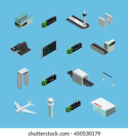 International airport terminals signs services and facilities isometric icons set on sky blue background isolated vector illustration