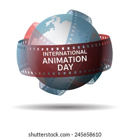 International animation day. Globe with filmstrip isolated on white background