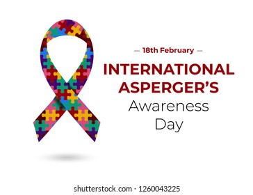 International Asperger's Awareness Day (18th February) concept with multicolored ribbon. Puzzle strip as symbol of mental autistic spectrum disorders. Colorful vector illustration for web and print.