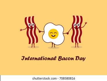 International Bacon Day vector. Bacon and egg cartoon. Important day