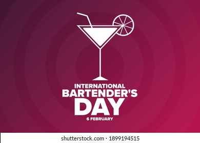 International Bartender's Day. 6 February. Holiday concept. Template for background, banner, card, poster with text inscription. Vector EPS10 illustration