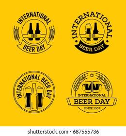 international beer day, beer logo, line art