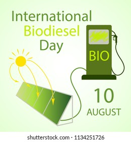 International Biodiesel Day. 10 August. Vector illustration  of installation for the production of biodiesel from algae and a fuel pump for International Biodiesel Day.