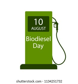 International Biodiesel Day. 10 August. Vector illustration of a fuel pump for International Biodiesel Day.