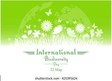 International Biodiversity Day background with flower, butterflies and grass silhouettes.Vector