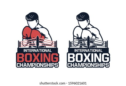international boxing championships logo design tournament emblem sign badge t shirt design poster