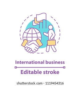 International business concept icon. Diplomacy idea thin line illustration. Global trade. Business deal. International relations and partnership. Vector isolated outline drawing. Editable stroke