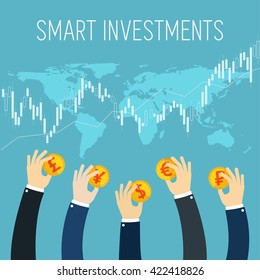 International business flat illustration. Smart investment. Businessman hands holding gold coins. Successful Trader. Stock trade. Foreign currency money exchange. Stock market.