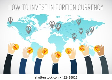 International business. Foreign currency investment. Businessman hands holding gold coins. Traders hands. Successful Trader. Stock market. Foreign currency exchange. flat illustration.