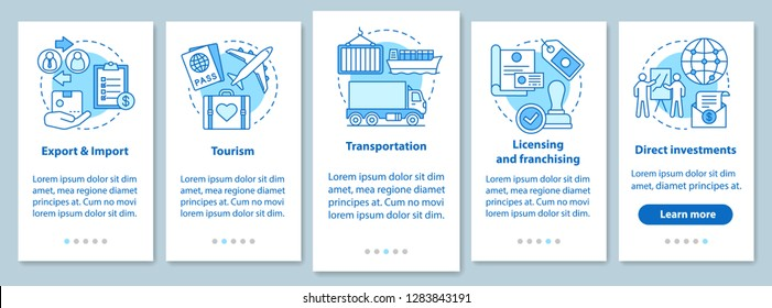 International business onboarding mobile app page screen with linear concepts. Global trading. Export, import, tourism walkthrough steps graphic instructions. UX, UI vector template with illustrations
