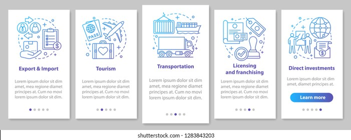 International business onboarding mobile app page screen with linear concepts. Global trading. Export, import, tourism, franchising walkthrough steps. UX, UI, GUI vector template with illustrations