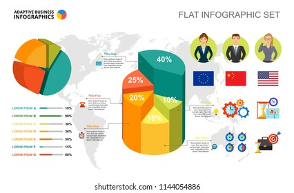 International business percentage and pie charts template for presentation. Abstract elements of diagram, graphic. Progress, economy, management or statistics creative concept for infographic.