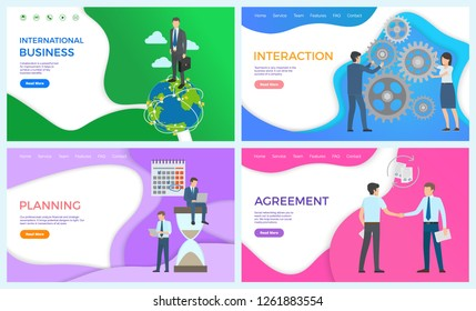 International business and planning web posters. Interaction and team building, cooperating together. Agreement, social networking of potential customers
