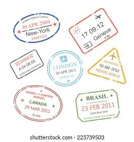 International business travel visa stamps set vector eps10 illustration