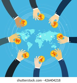 International business visual concept. Businessman hands holding gold coins. Successful Trader. Foreign currency investment. Money exchange. World map business.