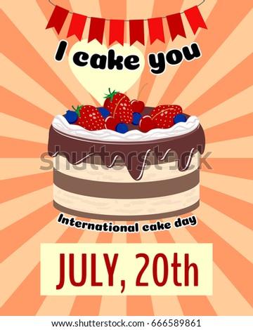 international cake day design template card stock vector royalty