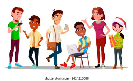 International Character Adolescent Set Vector. Adolescent Sitting On Chair And Holding Laptop, Teenager With Smartphone, Smiling Boy And Young Girl With Christmas Present. Flat Cartoon Illustration