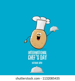 International chef day greeting card. vector funny cartoon tiny brown smiling chef potato with hat isolated on blue background.