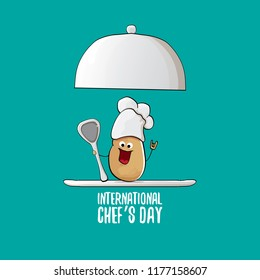 International chef day greeting card. vector funny cartoon tiny brown smiling chef potato with hat isolated on azure background.