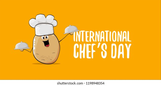 International chef day greeting card or horizontal banner. vector funny cartoon tiny brown smiling chef potato with hat isolated on orange horizontal background.
