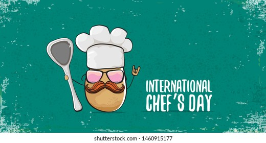 International chef day greeting card or horizontal banner. vector funny cartoon tiny brown smiling chef potato with hat isolated on grunge azure horizontal background.