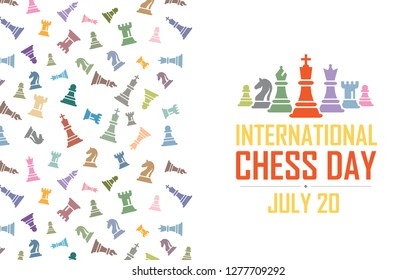 International Chess Day Vector Illustration on Light Background. Figurine Including King, Queen, Bishop, Knight, Rook, Pawn.