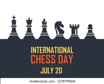 International Chess Day Vector Illustration on Dark Background. Chess Vector Illustration. Six Objects Including King, Queen, Bishop, Knight, Rook, Pawn.