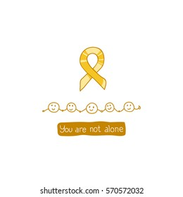 International Childhood Cancer Day, vector design element. Golden ribbon is a symbol of childhood cancer