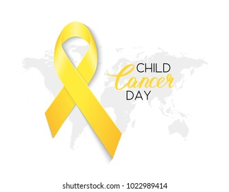 International Childhood Cancer Day. World cancer day. Bright yellow awareness ribbon. Vector illustration
