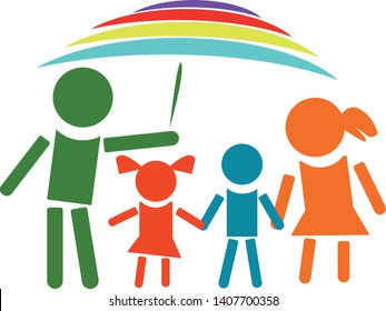 International children day. Happy family day. Chldrens protection logo