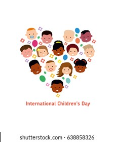 International Children's Day. 1 june. Flat vector illustration