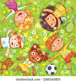 International Children's Day or Earth Day. Children lie on the meadow. Camera Angle downward. Funny cartoon character. Vector illustration