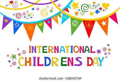 International childrens day.  Happy Children day greeting card. Kids day poster. Vector Illustration