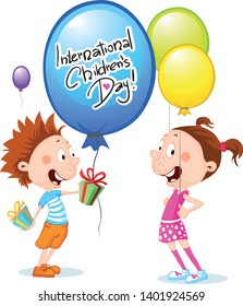 International Childrens Day illustration - Vector Cartoons with balloon and Children